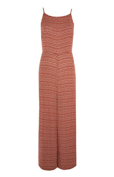 Orange Pattern Crinkle Sleeveless Jumpsuit