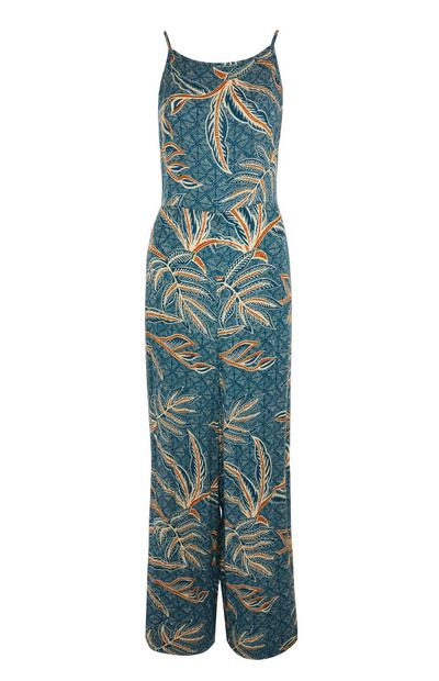Blue Leaf Pattern Sleeveless Crinkle Jumpsuit
