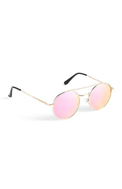 Pink And Gold Round Sunglasses