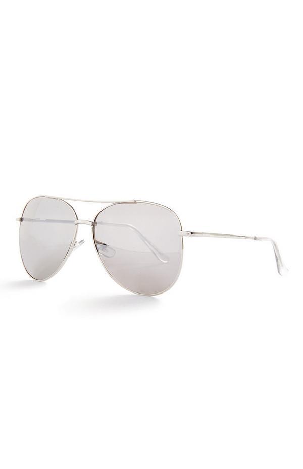 Pilotensonnenbrille in Silber und Transparent
