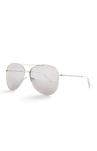 Silvertone And Clear Basic Aviator Sunglasses