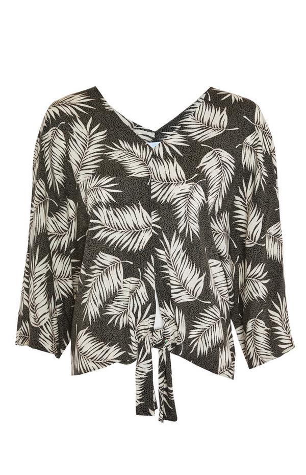Khakifarbene Viskose-Bluse mit Blattmuster und Schleife vorne