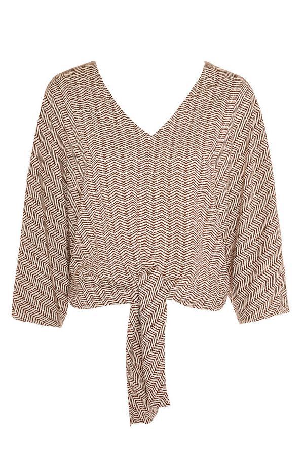 Braune Viskose-Bluse mit Print und Schleife vorne