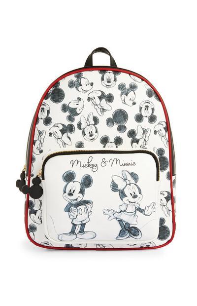 Mochila blanca y negra de Mickey y Minnie