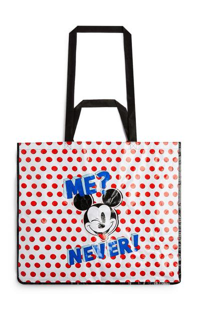 Wit/rode shopper met Mickey Mouse en stippen