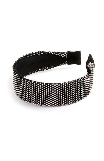 Zwarte haarband met stras