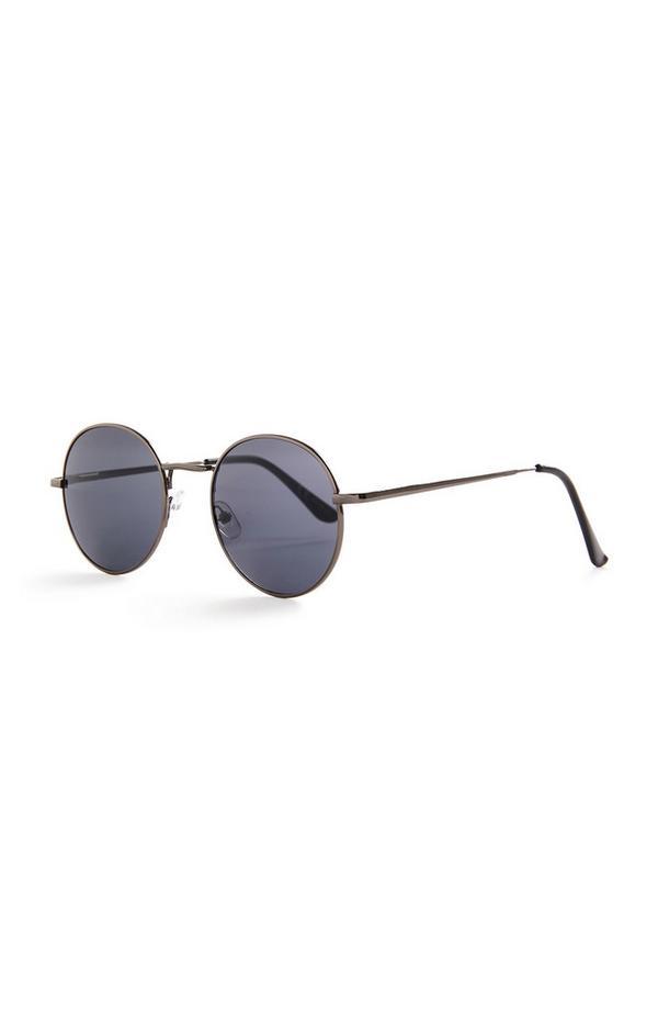 Schwarz getönte, runde Sonnenbrille