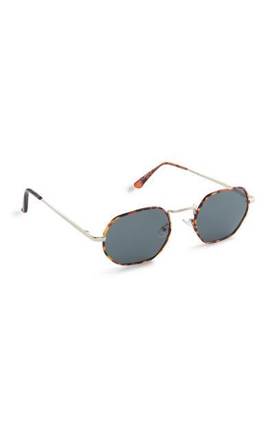 Bruingemêleerde zonnebril met vierkant montuur