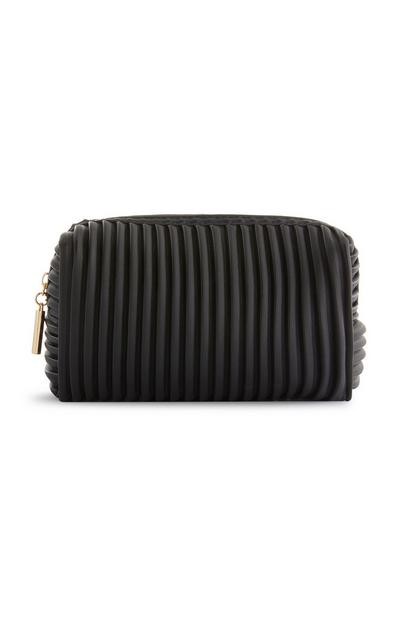 Black Ribbed Makeup Bag