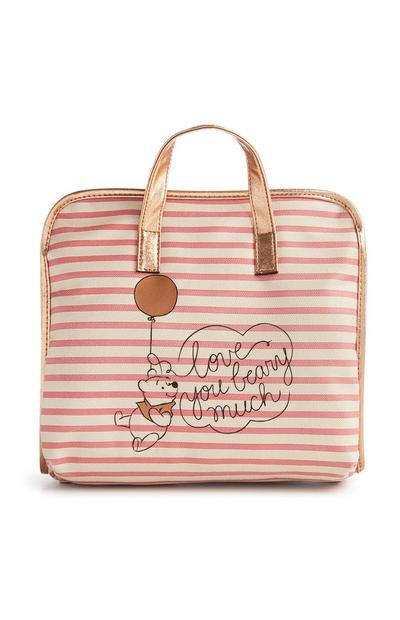 Pink Striped Winnie The Pooh Bag