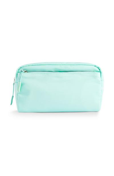 Mintgrüne Make-up-Tasche mit Reißverschluss auf der Vorderseite