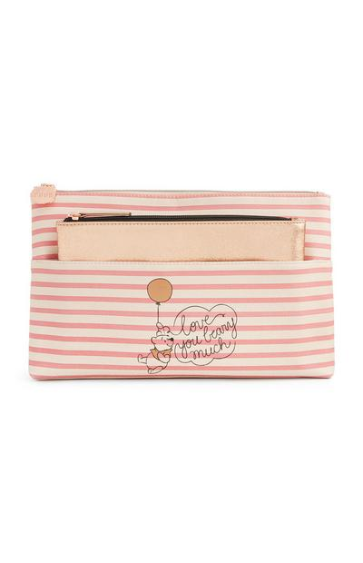 Trousse de toilette rayée rose Winnie l'ourson