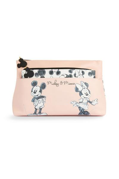 Pink Mickey And Minnie Mouse 2 In 1 Make-Up Bag