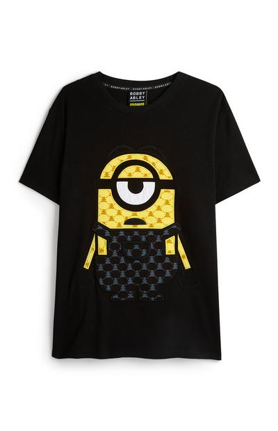 T-shirt nera con stampa Minion Bobby Abley