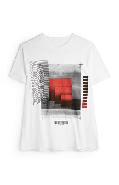 White Photographic Collage T-Shirt