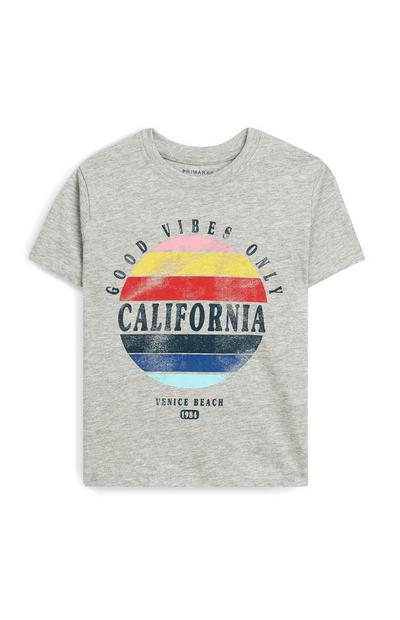 Younger Boy Grey California Short Sleeve T-Shirt