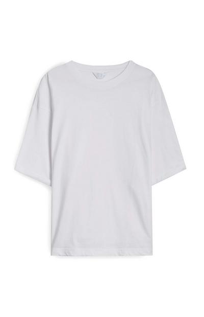 T-shirt bianca squadrata in cotone