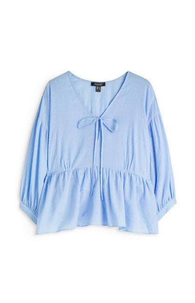 Light Blue Tie Front Tiered Top