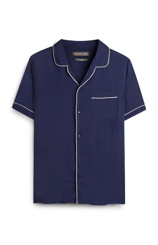 Camicia blu navy con profili bianchi Kem Cetinay