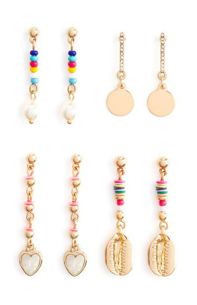 Gold Multi Bead Drop Earrings 4Pk