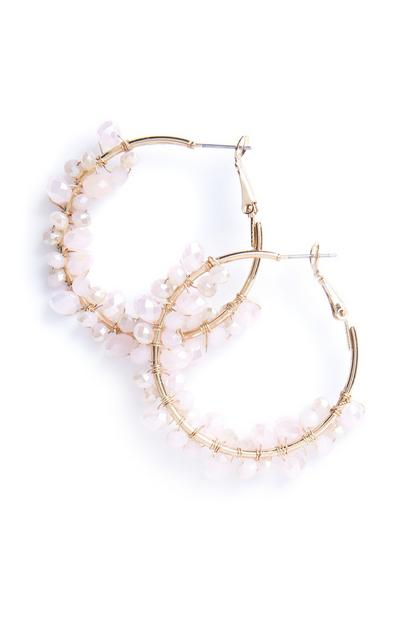 Pink Clustered Beads Hoops