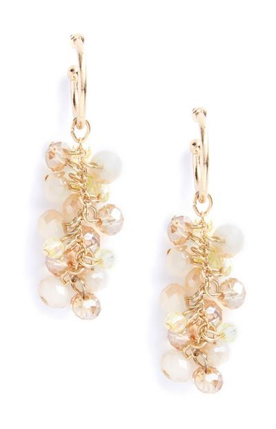 Nude Beaded Drop Earrings