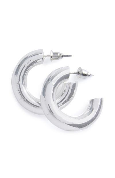 Silver Chunky Small Hoops