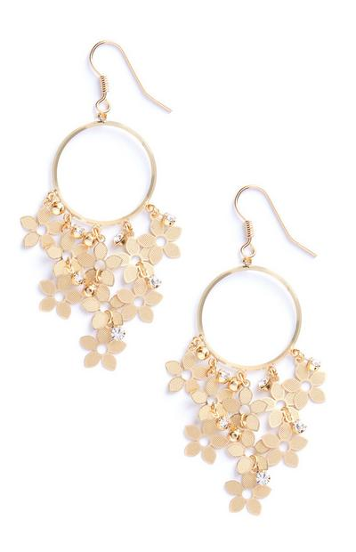 Gold Floral Dangle Hoop Earrings
