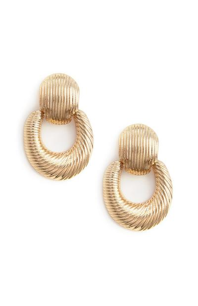 Gold Chunky Texured Drop Earrings