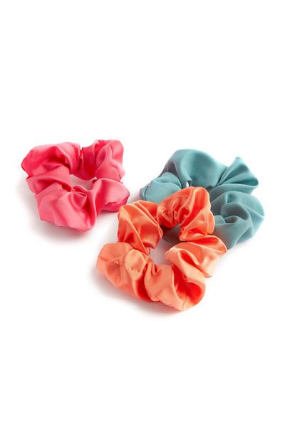 Pink Orange And Blue Satin Scrunchies 3Pk