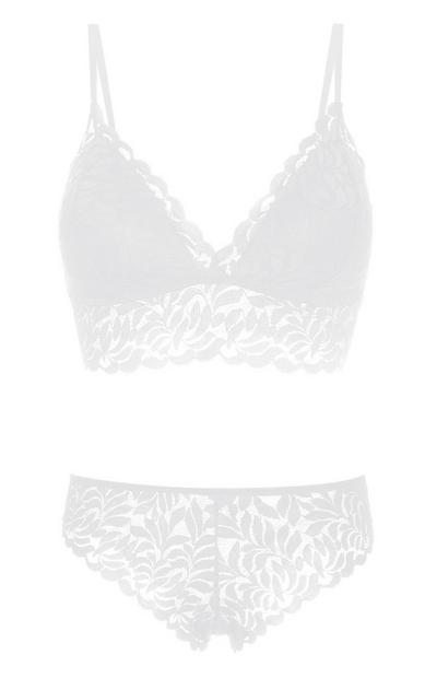 White Lace Bralette And Briefs Set