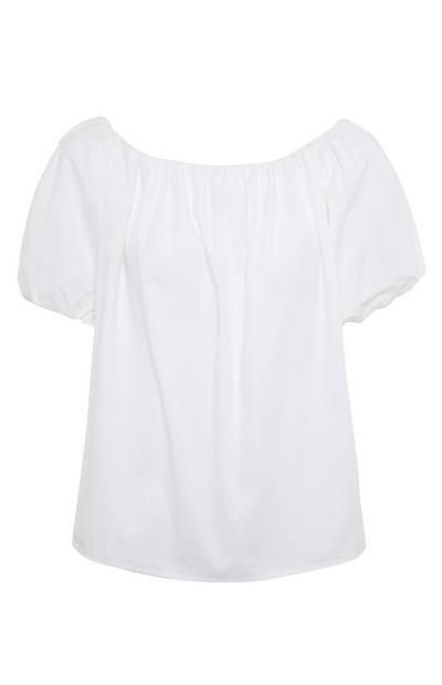 White Cotton Poplin Bardot Top