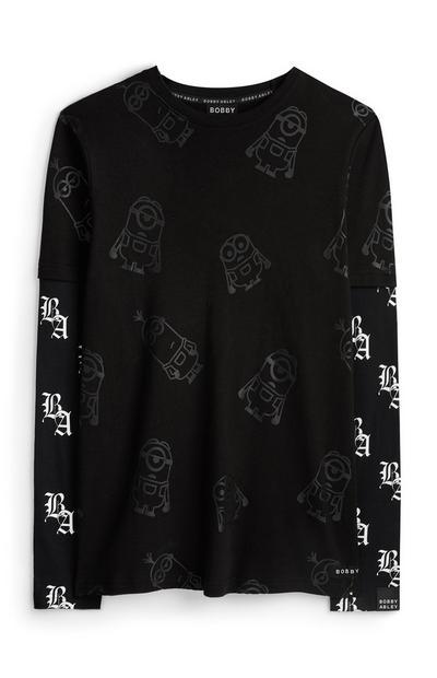 Pull noir à manches longues avec logo par Bobby Abley