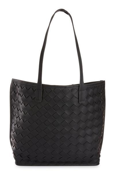 Black Weave Shopper Bag
