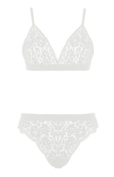 Gray Lace Triange Bra and Briefs Set