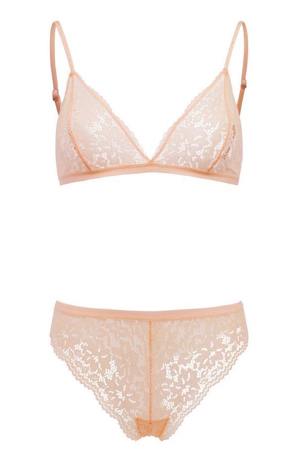 Conjunto lingerie renda triângulo rosa-pálido
