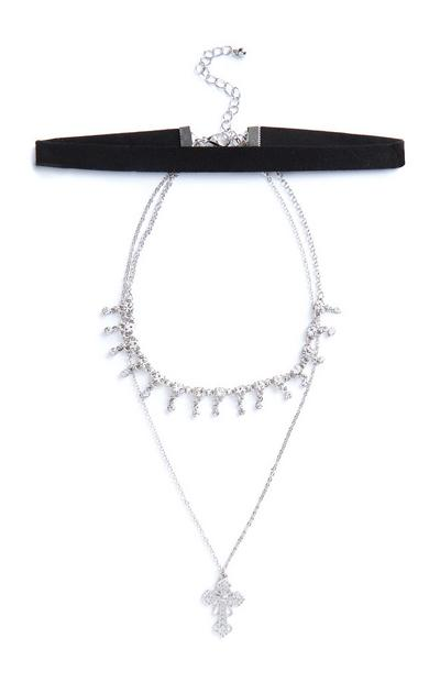 Silver Choker and Chain Cross Pendant