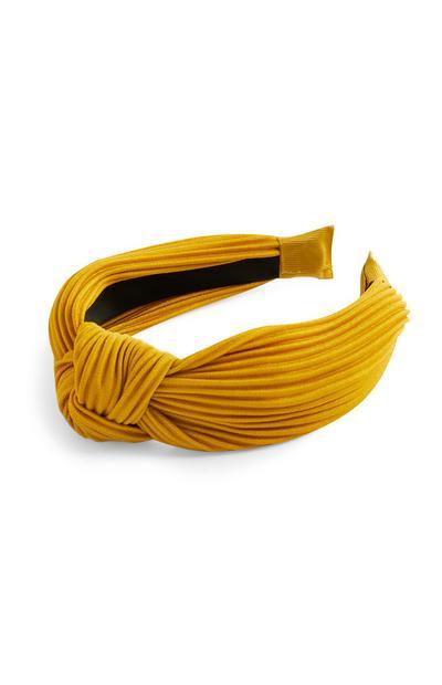 Serre-tête moutarde en velours côtelé