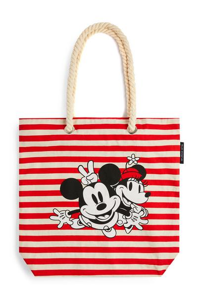 Sac de plage rouge rayé Mickey et Minnie Mouse