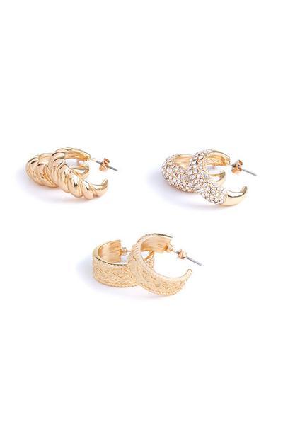 3-Pack Chunky Gold Detailed Hoop Earrings