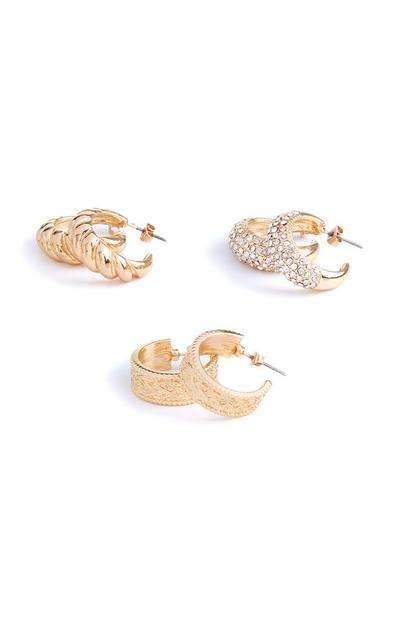 3-Pack Chunky Gold Detailed Hoop Earrings