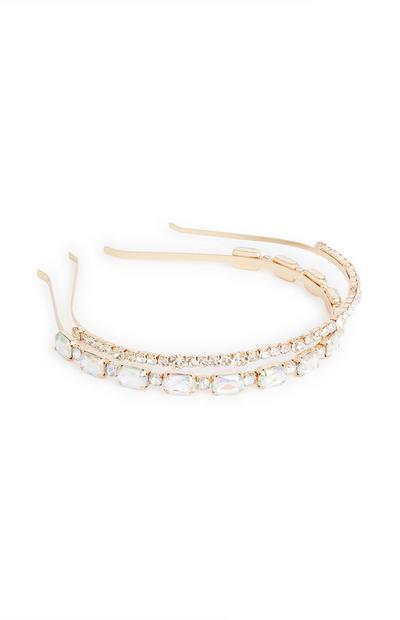 Blue Jewel Thin Headbands 2Pk