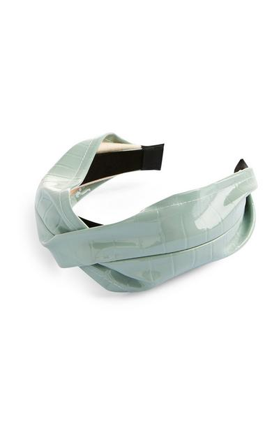 Mint Faux Leather Twist Headband