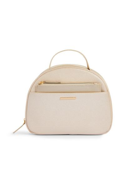 Cream Glittery Circle 2 In 1 Vanity Bag