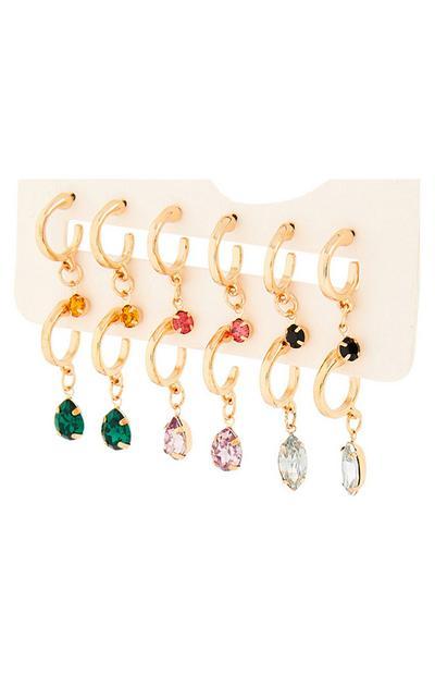 Lot de 6paires de boucles d'oreilles huggies dorées à pendentifs mélangés