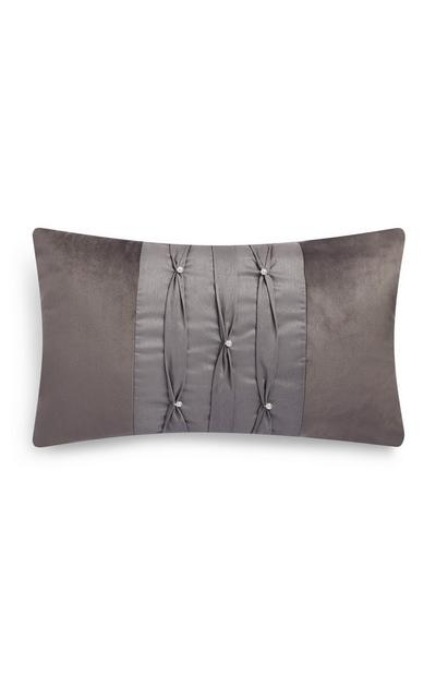 Silver Pleated Pearl Oblong Cushion