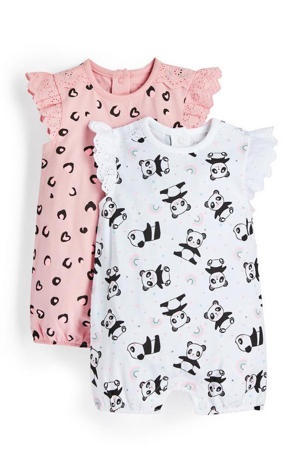 Jersey-Strampler mit Rüschen für Neugeborene (M), 2er-Pack