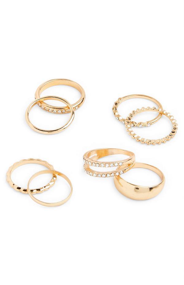 Breite, goldfarbene Ringe mit Strasssteinen, 8er-Pack