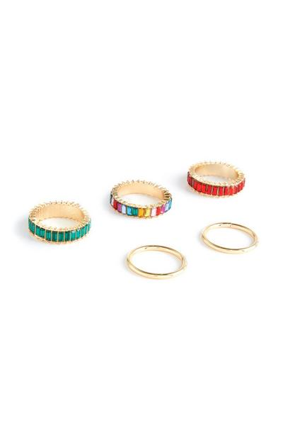 5-Pack Gold Mixed Design Stacker Rings