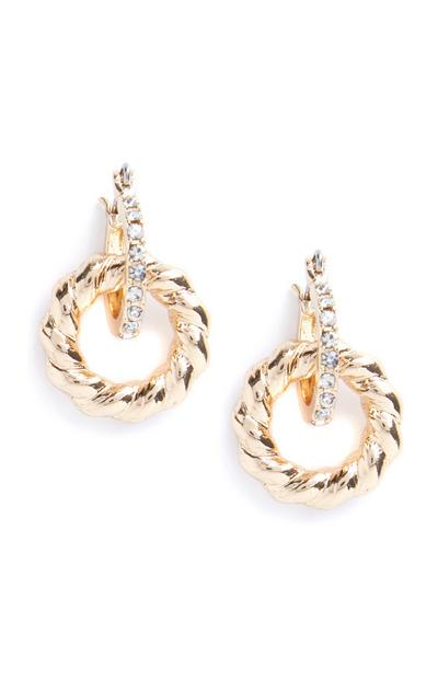Gold Rhinestone Link Circle Drop Earrings